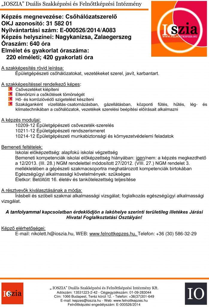Csőhálózatszerelő OKJ - Nagykanizsa - Zalaegerszeg - felnottkepzes.hu - Felnőttképzés - IOSZIA