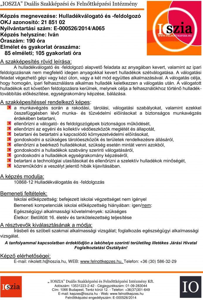 Hulladékválogató és -feldolgozó - Iván -Felnőttképzés - IOSZIA