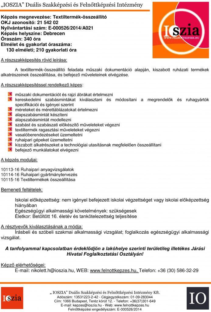 Textiltermék-összeállító OKJ - Debrecen - Felnőttképzés - felnottkepzes.hu - IOSZIA