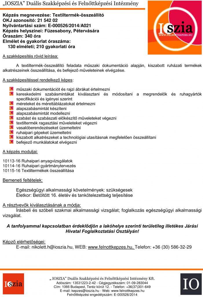 Textiltermék-összeállító OKJ - Füzesabony - Pétervására - felnottkepzes.hu - Felnőttképzés - IOSZIA