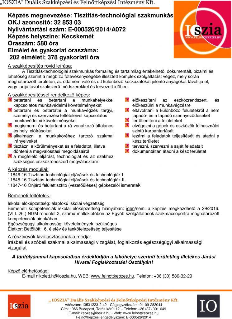 Tisztítás-technológiai szakmunkás OKJ - Kecskemét - felnottkepzes.hu - Felnőttképzés - IOSZIA