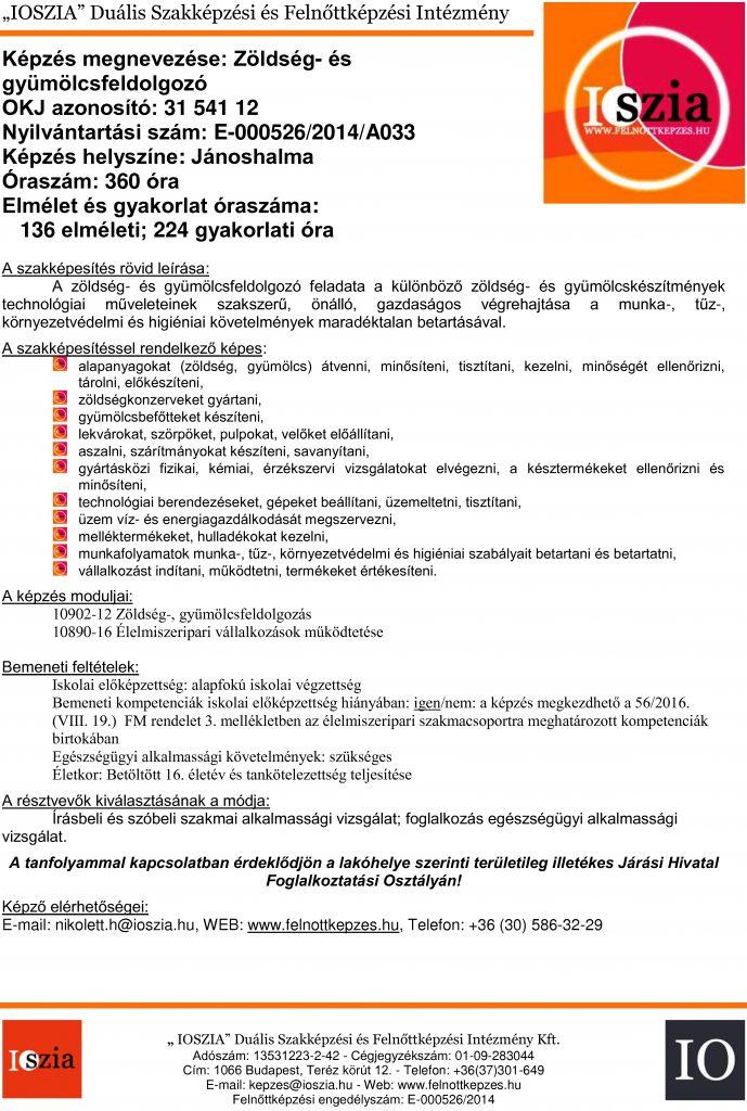 Zöldség- és gyümölcsfeldolgozó OKJ - Jánoshalma - felnottkepzes.hu - Felnőttképzés - IOSZIA